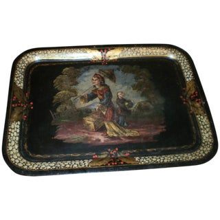 Antique French Chinoiserie Tole Tray