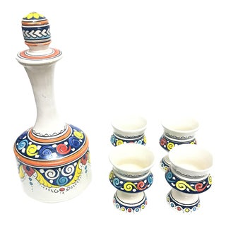 Moroccan Hand Painted Ceramic Carafe & Cups - Set of 5