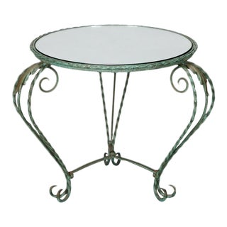 Italian Iron Mirror Top Low Round Side Table