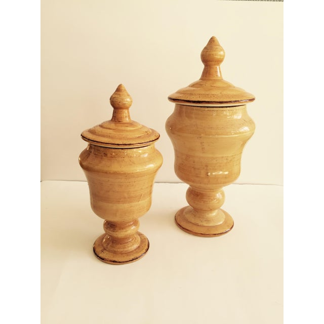 Image of Golden Yellow Urns - Pair