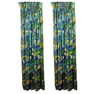 Lined Burlap Floral Drapes