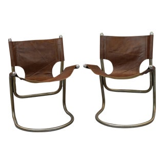 Mid-Century Italian Leather & Aluminum Chairs - A Pair