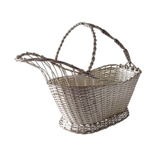 Christofle Attri. Vintage Silver Woven Wire Basket