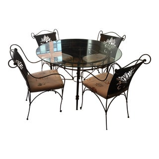 Harden Wrought Iron Glass Top Dining Set