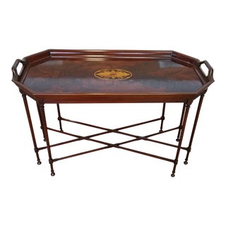 Mahogany Councill Craftsmen Chippendale Style Tray Top Table