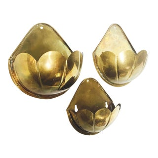 Vintage Scalloped Brass Wall Pockets - Set of 3