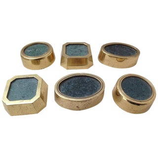 Set of Six Brass and Marble Sculptural Elements