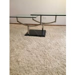 Image of Modern Glass, Chrome & Marble Base Swivel Coffee Table