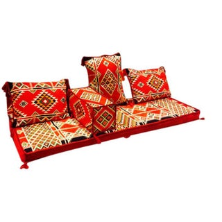Arabesque Red Velvet Floor Seating Set - 5 Pieces