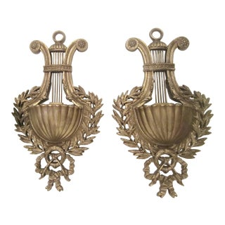 Neoclassical Regency Laurel Leaf Wall Pockets - a Pair