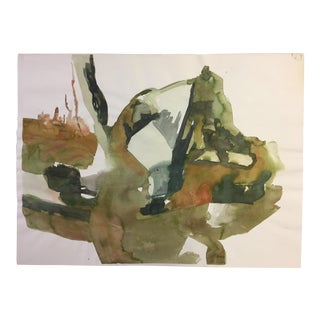 1970s Abstract in Greens Painting