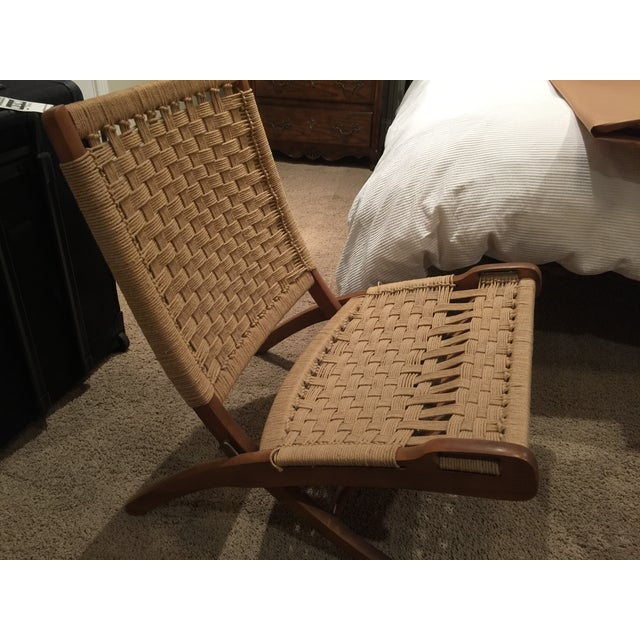 Wegner Style Folding Woven Chairs - A Pair - Image 3 of 6