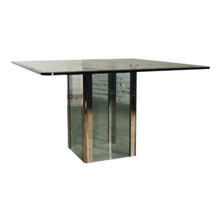 Pace Collection Chrome & Glass Square Dining Table