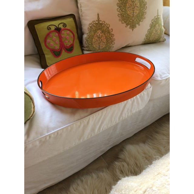 Orange Lacquer Oval Hermès Inspired Serving Tray - Image 7 of 11
