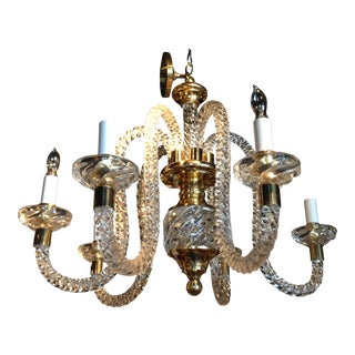 Vintage Brass Accented Hand Blown Spiral Glass Chandelier