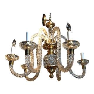 Vintage Brass Accented Hand Blown Spiral Glass Chandelier