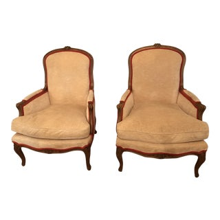 Baker Fruitwood Bergere Chairs - A Pair
