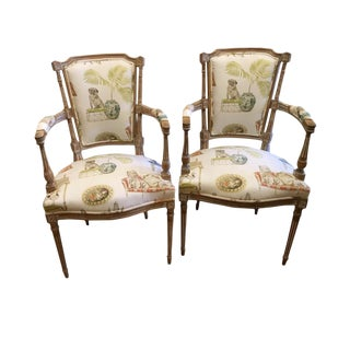 Neoclassical Dog Print Side Chairs - A Pair