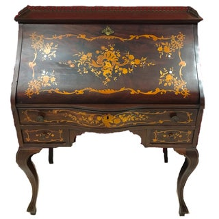 Italian Style Marquetry Secretary Desk With Inlaid Mother of Pearl