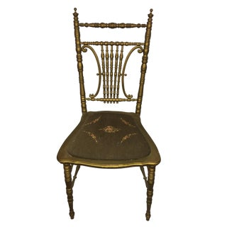 Vintage Spindle Chair with Embroidered Seat