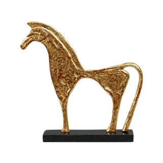 Gold Trojan Statue on Stone Base