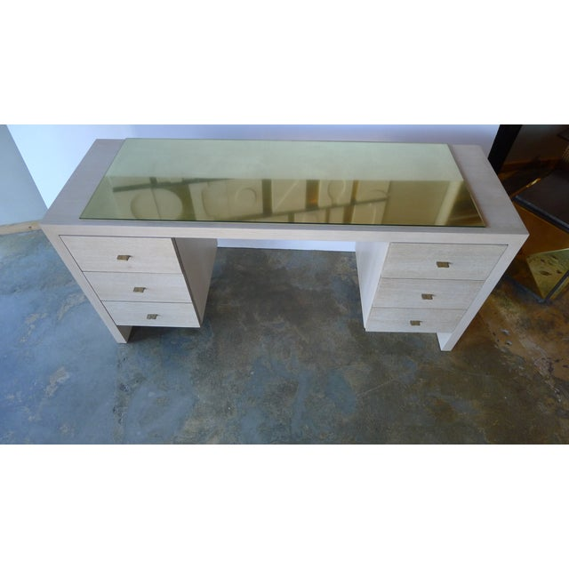 Modern Desk in Bleached Oak with Brass - Image 2 of 9