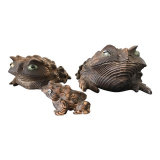 Vintage Japanese Frog Cryptomeria Horny Toad Family - Set of 3