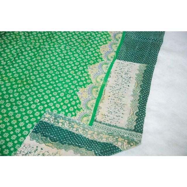 Vintage Indian Green Kantha Quilt - Image 2 of 2