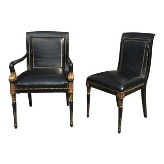 French Empire Leather Chairs - a Pair
