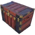 Image of Red & Black Antique Metal Covered Trunk C 1900's