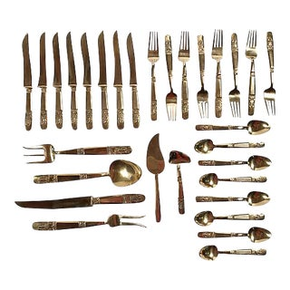 Thai Brass Flatware, 30 Pcs