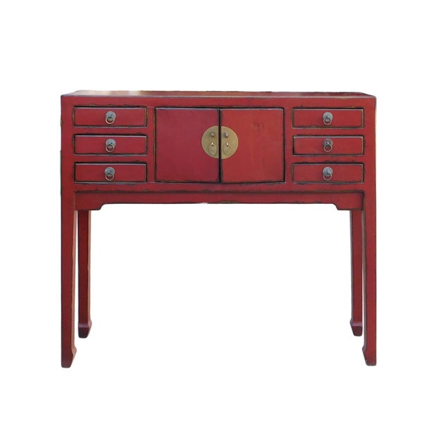 Image of Chinese Rustic Red Narrow Slim Pedestal Side Table