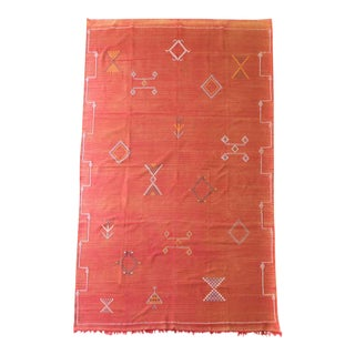 """Moroccan Cactus Red Silk Rug - 9'3"""" X 6'"""