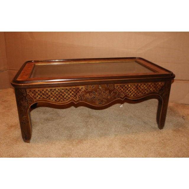 Drexel Curio Glass Top Burled Wood Coffee Table Chairish