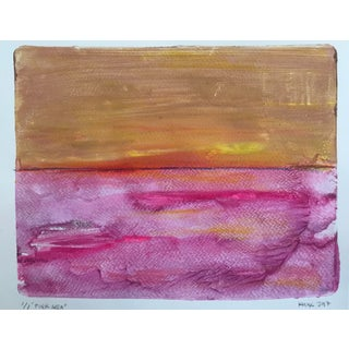 Pink Sea Handmade Monotype Painting