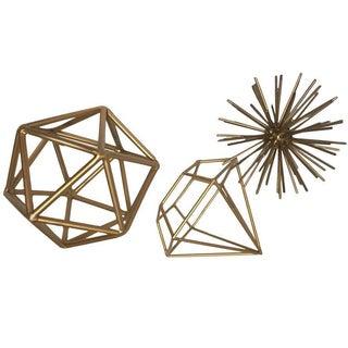 Gold Metal Geometric Shapes - Set of 3