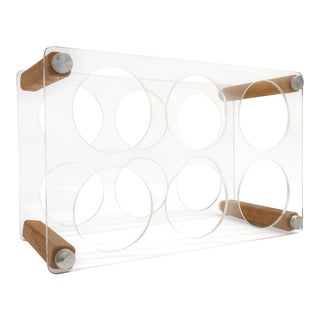 Lucite & Wood Wine Rack