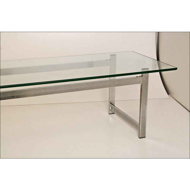Mid-Century Modern Chrome & Glass Coffee Table - Image 5 of 11