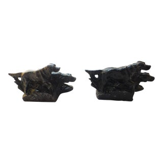 1920's Hunting Dog Bookends - A Pair