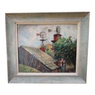 """Barn & Windmills"" Painting by Ejnar Hansen"