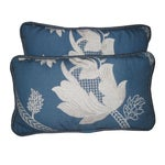 Image of Blue & White Embroidered Pillows - a Pair