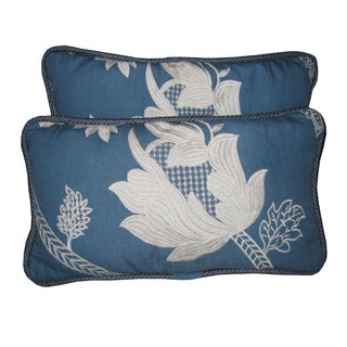 Blue & White Embroidered Pillows - a Pair