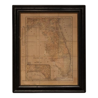 Sarreid LTD Framed 1902 Map of Florida
