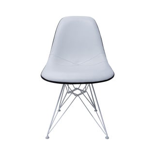 White Leather Eames Side Chair