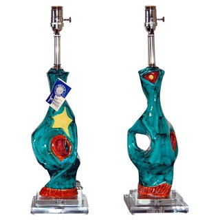 Abstract Pair of Ceramic Lamps by Deruta