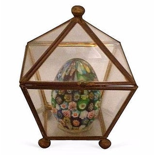 Colorful Art Glass Egg in Glass & Brass Box