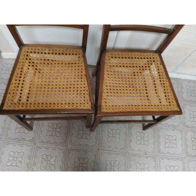 Image of Cane Seat Wood Chairs - A Pair