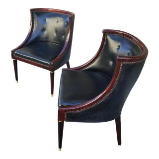 Mid-Century Modern Custom Leather Chairs - a Pair