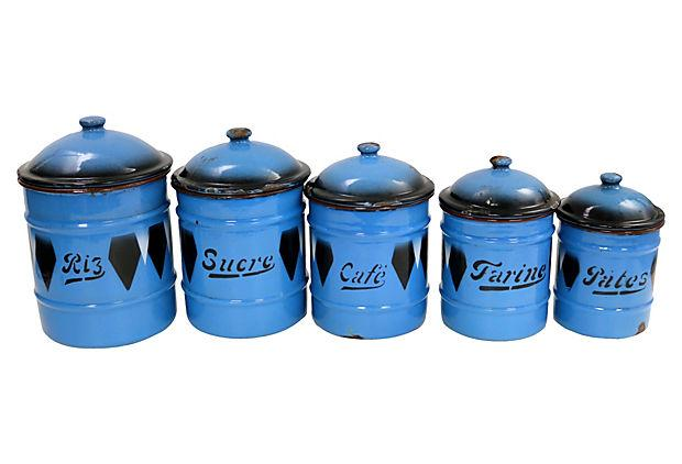 French Kitchen Canisters: Vintage Argyle French Enamel Kitchen Canisters