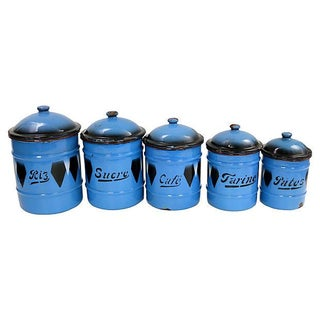 Vintage Argyle French Enamel Kitchen Canisters